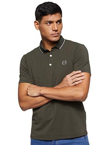 A|X Armani Exchange - Polo da uomo in maglia a maniche corte, in jersey, verde militare, M