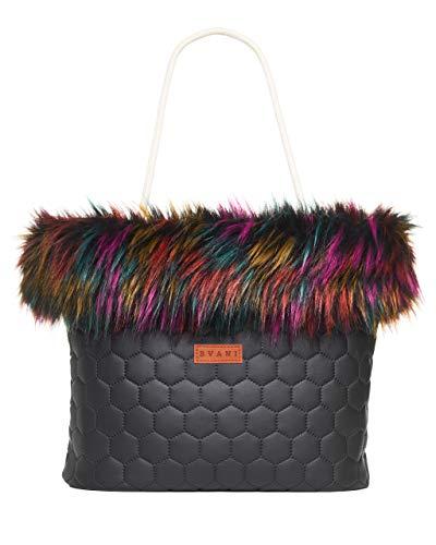 Bvani Große Kunstleder Damen Tote Bag mit Fell ein Wochenende Handtasche - Shopper Tasche (Regenbogen)