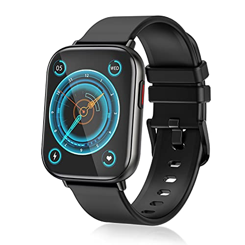 Smart Watches for Men Women ,Fitness Tracker with Heart Rate Monitor Sport AMOLED Display Swimming Waterproof Watch for Android/ iOS/Phones, Black