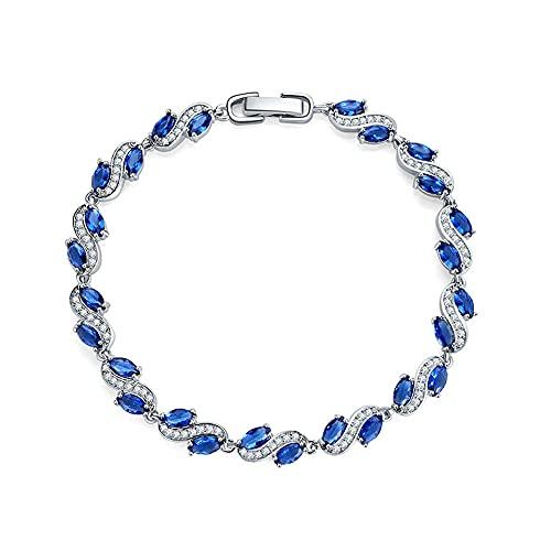 CHWEI Knitted Hat Pulseras para Mujer Pulseras con Dijes Color Oro Blanco Circón Diamante De Imitación Piedras Azules Pulseras Brazalete para Mujer Fiesta De Compromiso Regalo A 18Cm