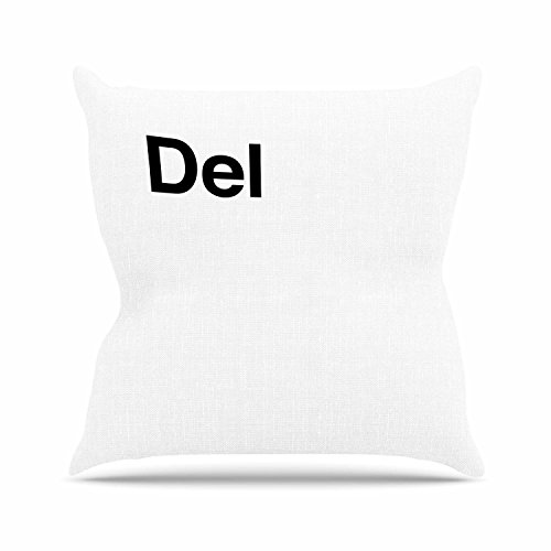KESS InHouse JB1014AOP03 18 x 18-Inch 'Jackie Rose Delete Black White' Outdoor Throw Cushion - Multi-Colour