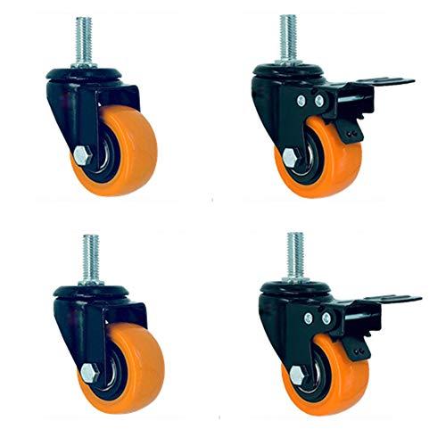 Thread M10 Zwenkwielen voor meubels en industrieel transport 1.5'' 40mm/2'' 50mm stille PVC zwenkwielen met rem 240kg stalen lager voor wieg & bureaustoel trolley fabriek magazijn 4 stuks