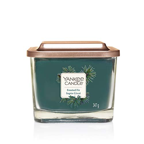 Yankee Candle Elevation Kollektion mit Plattformdeckel Mittlere 3-Docht-Quadratkerze, Frosted Fir