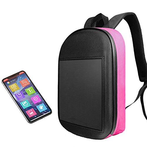 JJIIEE Waterproof LED Backpack,Programmable Intelligent LED Display WiFi Advertising Backpack,Large capacity backpack Support Text/Picture/Gif Animation for unisex,Pink