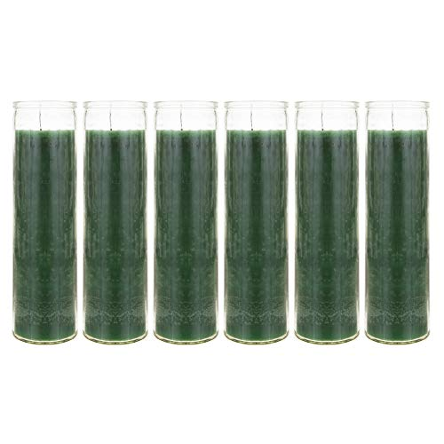 Mega Candles 6 pcs Unscented Green 7 Day Devotional Prayer Glass Container Candle, Premium Wax Candles 2 Inch x 8 Inch, Great for Sanctuary, Vigils, Prayers, Blessing, Religious & More