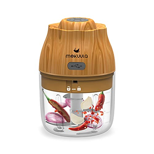 MEKUULA Hachoir Électrique, avec chargeur USB et 3 lames tranchantes Presse-ail Robot Culinaire, 250ML & surface grain de bois, utilisé pour les repas bébé Sauce Saucisse Viande Noix.