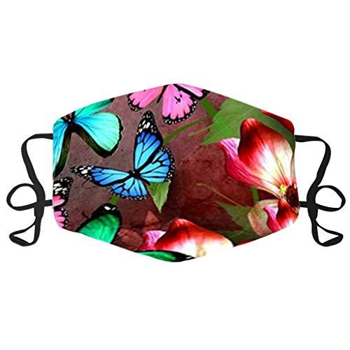 Erwachsene Mundschutz Schmetterlings Druck Atmungsaktiv Stoff Waschbar Stoff Atmungsaktive Staubdicht Mund und Nasenschutz Halstuch für Damen Herren (C)