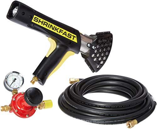 Shrinkfast 998 Heat Gun, 200000 BTU Propane Heat Gun, Ready to Use with 25' Hose, Regulator, Hard Case, and Wrench Made in the USA