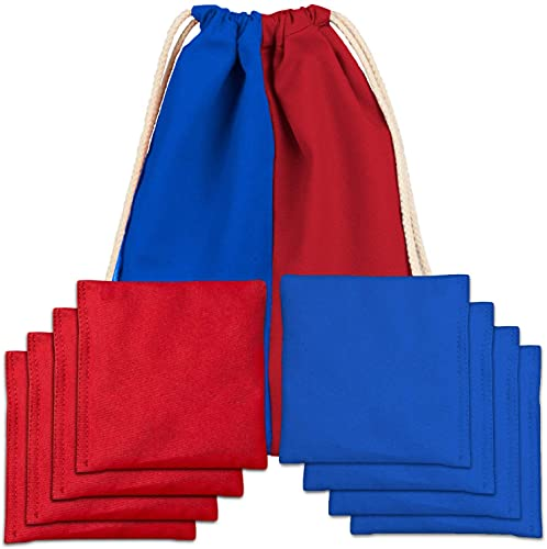Corn Filled Cornhole Bags - Set of 8 Improved Bean Bags for Corn Hole Game - Regulation Size & Weight - Red and Blue