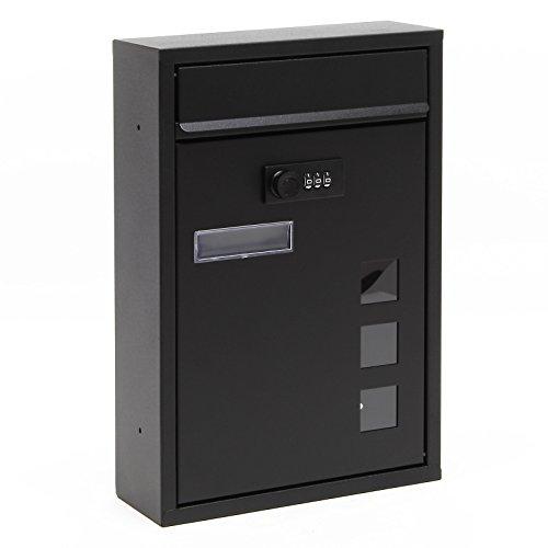Moderner Briefkasten Schwarz Zahlenschloss Wandbriefkasten pulverbeschichtet
