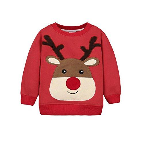 CuteOn Bébé Sweat-Shirt - Manche Longue Noël Modèle Manche Longue Pullover Chemise Rouge Cerf 24 Mois