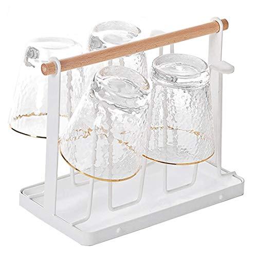 IDO latral Flaschenhalter Tassenhalter Metall Abtropfhalter Abtropfgestell Trockenständer Metallbügel Passt der Ständer für Küche Glasflaschen, Sodastream - Weiß mit Auffangschale
