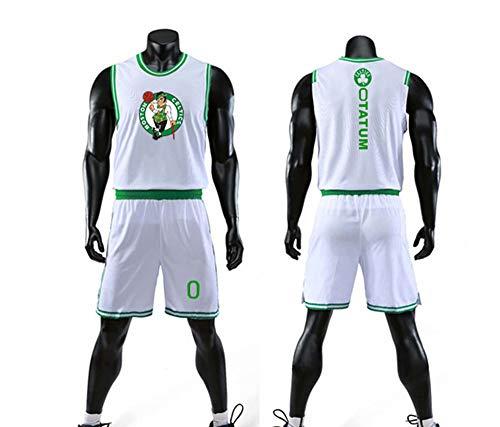 HS-XP Juego De Camiseta De Baloncesto del Niño, Celtics De Boston # 0 Jayson Tatum Kid's Basketball Uniform Malla De Uniforme De Secado Rápido Capacitación Uniforme Shorts,Blanco,L(Child) 135~145CM