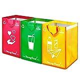 Janaa Cubo de Basura de Reciclaje Selectivo para El Reciclaje de Residuos de Vidrio, Plástico y Metal + Bolsa de Dones (Púrpura-Amarillo-Verde)