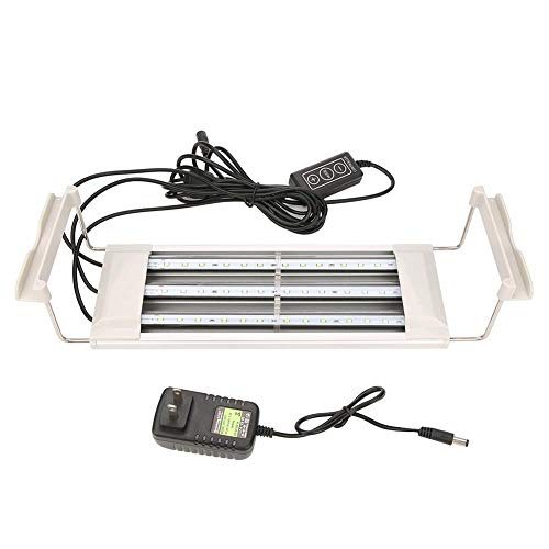Pssopp Aquarium LED-verlichting 36 LED's aquarium licht dimbaar wit blauw lichtbalk aquarium clip-on lamp waterdichte waterplant verlichting met uittrekbare standaard, 100-240 V.