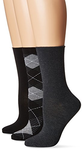 No nonsense Women's Jeans Sock, 3 Pair Pack, Argyle-Black, 4-10