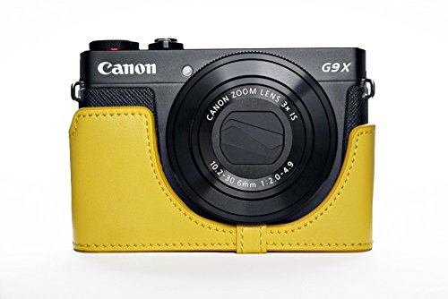 Handmade Genuine Camera Half Leather Case Bag Cover for Canon PowerShot G9 X G9x - Yellow