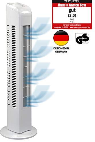 JUNG TF01 Ventilator 76cm weiss - TESTSIEGER 2020 NOTE 2,0(GUT) - BESTSELLER NR1, Leise Turm-lüfter Lautstärke max 48dbA, Turmventilator ENERGIESPAREND 0,05 kW/h,3 Stufen,75° Oszillierend Drehend