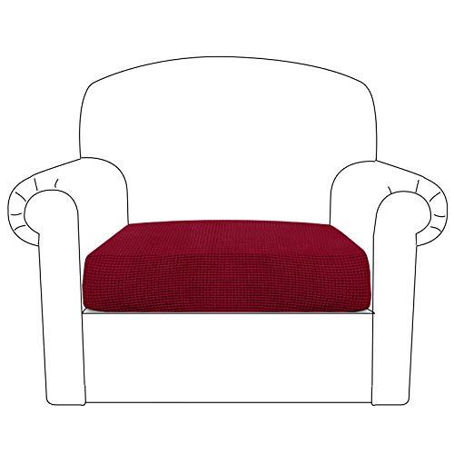 BellaHills Sofa Sitzkissenbezug Stretch Stuhl Schonbezug Spandex Elastic Couch Kissenbezüge Möbelschutz für Sofa Sitzkissen(1 Sitzer Kissen, Wein