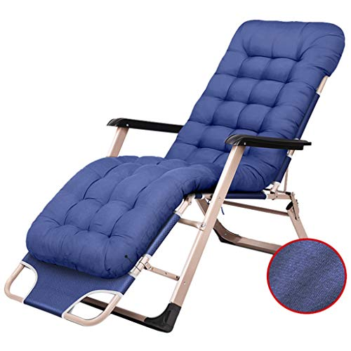 Chaise de terrasse de repos en plein air Chaise de patio réglable Chaise pliante inclinable pour la terrasse du porche avec coussin (Couleur : Blue chair+cushion)
