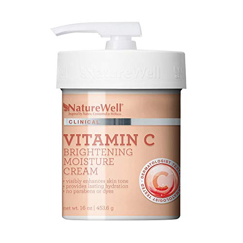 NatureWell Vitamin C Brightening Moisture Cream for Face & Body, 16 oz | Clinical | Provides Lasting Hydration & Visibly Enhances Skin Tone