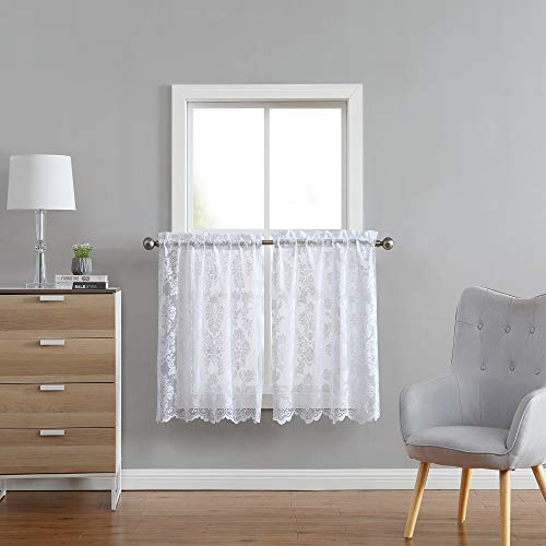 """ASATEX Pair of 2 30 (W) x 36 (L) Inch White Lace Cafe Curtains (Tiers) with Beautiful Flower Embroidery. Add Classic, Elegant Decoration to Kitchen, Dining Room or Small Window. FIO 30"""" x 36"""" White"""