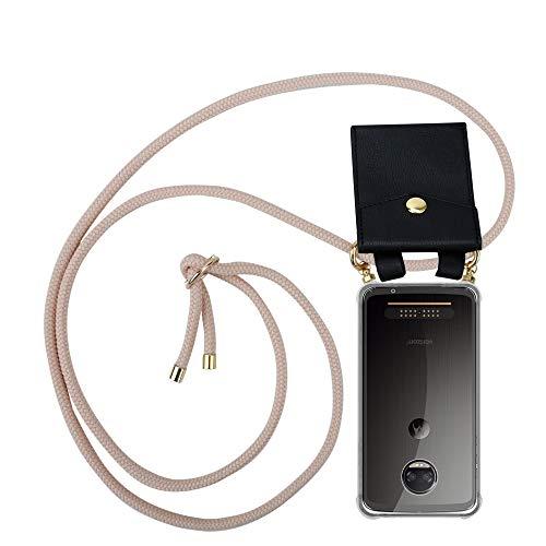 Cadorabo Handy Kette für Motorola Moto Z2 Force in PERLIG ROSÉGOLD - Silikon Necklace Umhänge Hülle mit Gold Ringen, Kordel Band Schnur & abnehmbarem Etui – Schutzhülle