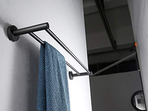 FZWAI SUS 304 Edelstahl Doppel-Handtuchhalter schwarz Runde WC Handtuchwärmer Badezimmer Matte Black Wand befestigten Handtuchhalter (Size : 80cm)