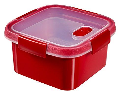 CURVER 232580Dampfgarer Mikrowelle quadratisch, Kunststoff rot 17x 17x 9cm 1,1l