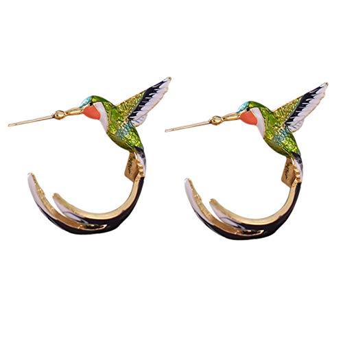 Raburt Bonitos pendientes de colibrí voladores con pintura al óleo, esmaltados
