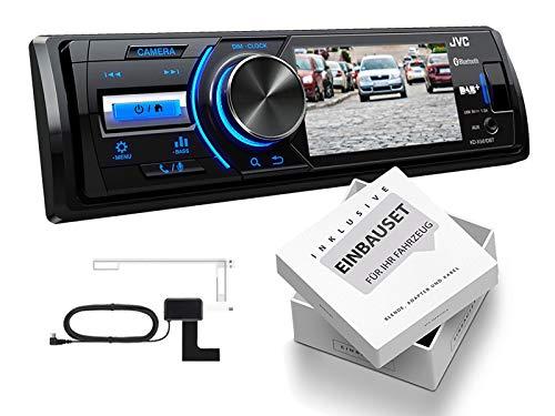 JVC KD-X561DBT 1-DIN DAB Media Receiver met kleurendisplay voor achteruitrijcamera inclusief DAB-antenne voor Renault Twingo II 2009-2014, KD-X561DBT+Einbauset, lichtgrijs