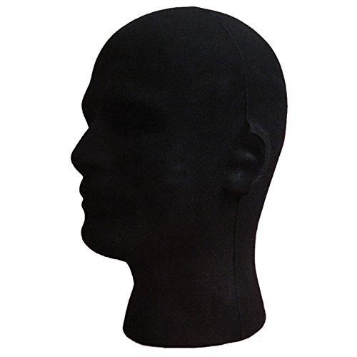 Sukisuki Mannelijk Schuim Mannequin Flocking Head Model Bril Headset Pruik Display Stand Gereedschap, Zwart Zwart