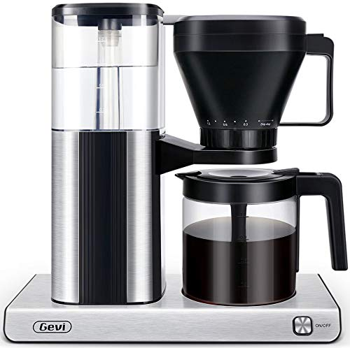 Coffee Maker,Gevi One-Touch Pour Over Drip Coffee Maker with Warming Plate and Auto-off Function,195-205 °F Optimum Brew Temperature 1.2L/40oz Clear Water Reservoir, Stainless Steel