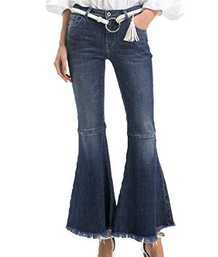 Dames joggingbroek jeans mode jongen band hoge denim chic klok broek casual flared jeanbroek met zakken button pants