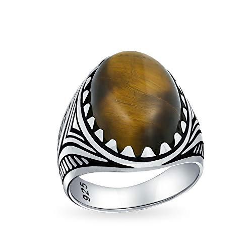 Hombres Signet gran marrón ojo de tigre ovalado cabujón piedra preciosa anillo de la garra para los hombres oxidado sólido 925 plata hecha a mano en Turquía
