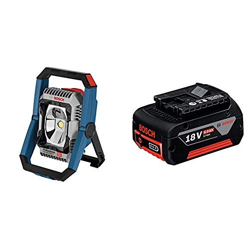 Bosch Professional GLI 18V-2200 C - Linterna a batería (14,4–18 V, 2200 lúmenes, sin batería, en caja) + Professional 1600A002U5 Batería 18 V, 18 W, Negro
