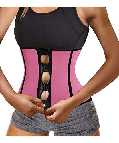 TAILONG Best Women Hot Sweat Fitness Neoprene Workout Top Shirt Waist Trainer Corset Trimmer Belt Body Shaper Cincher Zipper Slimming (Rose Pink Sauna Waist Trainer, M (US10-12))