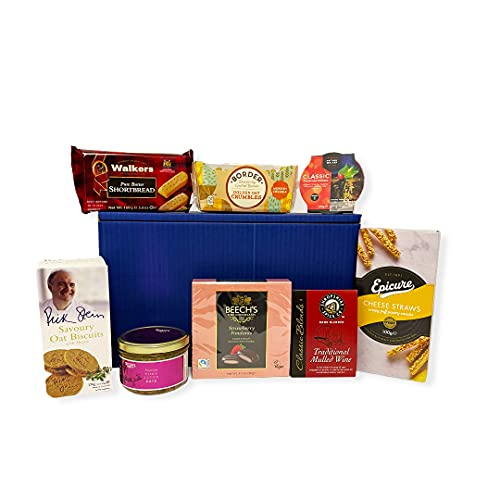 """""""Nibbles"""" Gift Box Food Hamper with Savoury Biscuits, Pate, Cheese Straws, Biscuits, Mulled Wine Spice Kit, Fruit Pudding & Shortbread - Gift idea for Mum, Mothers Day, Birthday, Fathers Day, Dad, Grandma, Grandad, Thank you, Business and Corporate"""