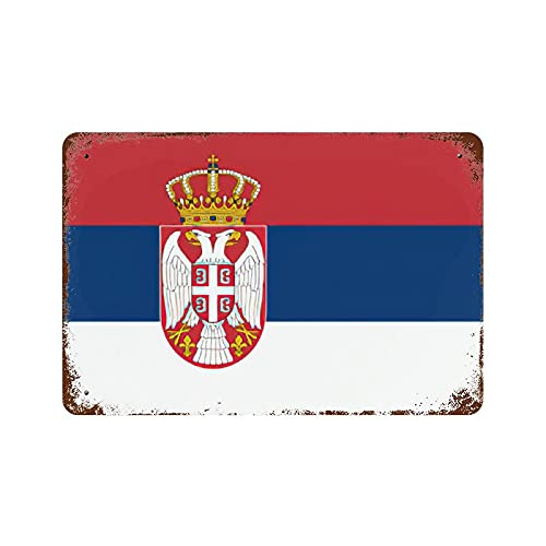 Gearsly Flagge der Republik Serbien, Retro-Blechschild, Landesflaggen, Wandkunst, patriotisch, Bar, Café, Dekoration, Männerhöhle