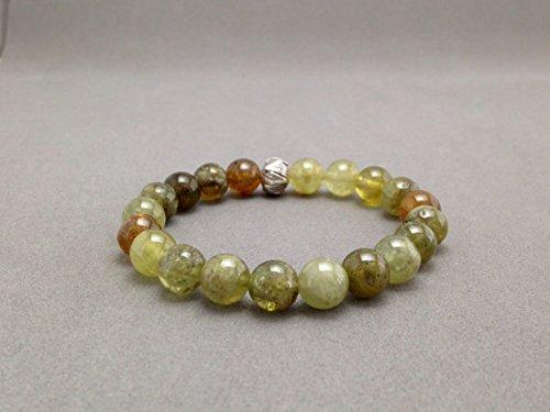 LOVEKUSH Green Garnet & Karen Hill Tribe Stretch Bead Bracelet for Fertility, Abundance, and Energy Boost 8mm Code- WAR6200