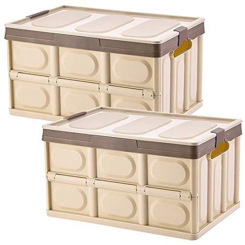 jocabo Lidded Storage Bins 2 Pack 30L Collapsible Storage Box Crates Plastic Tote Storage Box Container Stackable Folding Utility Crates for Clothes, Toy, Books,Snack, Shoe, and Grocery Storage Bin