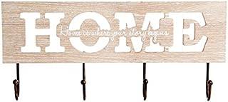 dcasa - Perchero pared madera frases HOME 4 ganchos