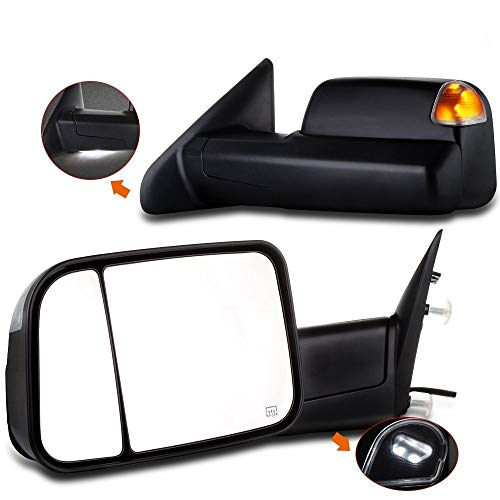 SCITOO Towing Mirrors, fit Dodge Ram Exterior Accessories Mirrors fit 2009-2016 Ram 1500 2500 3500 with Heated Temperature Sensor Amber Turn Signal and Puddle Light and Power Controlling Features