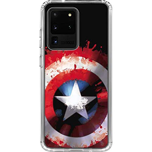 Skinit Clear Phone Case Compatible with Galaxy S20 Ultra 5G - Officially Licensed Marvel/Disney Captain America Shield Design