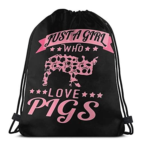 Lmtt Bolsas de cuerdas para el gimnasio Esta chica ama a un cerdo Mochilas Casual Unisex Escuela Bolsa de Cuerda Bolsas de Gimnasia 36*42cm