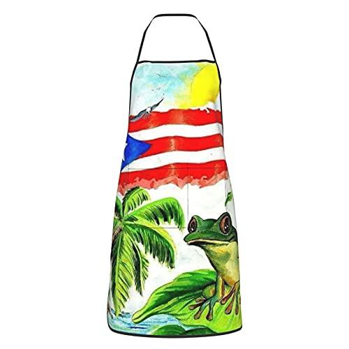 Vintage Puerto Rico Flag Apron, Unisex Kitchen Bib With Waterproof Apron Cooking Baking Gardening Grilling