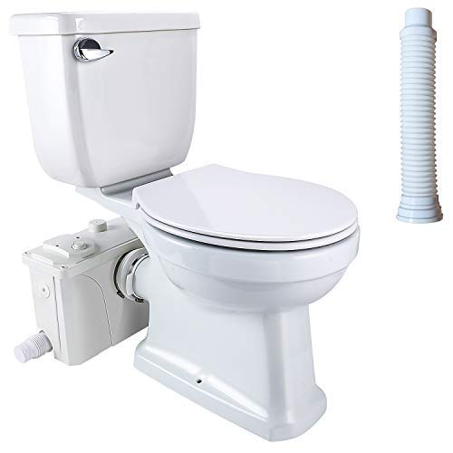 Macerating Toilet 3 piece Set with 500Watt Maerator Pump, Upflush Toilet System for Basement Room Included Water Tank, Toilet Bowl, Toilet Seat, Extension Pipe (FLO500-WC-4)