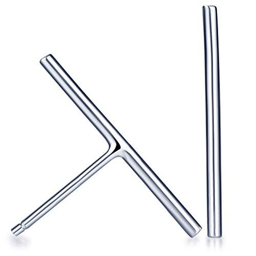 Infinite U Simple - Pendientes de plata de ley 925 pequeños con barra larga para mujeres/niñas, color plateado
