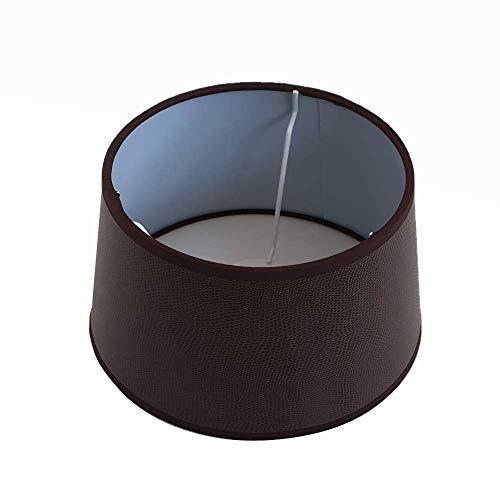 Lampenschirm Braun Lederoptik Rund E27 für Tischlampe Stehlampe 20 cm