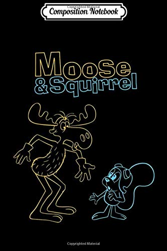 Composition Notebook: Rocky And Bullwinkle Neon Friends Outline Graphic Journal/Notebook Blank Lined Ruled 6x9 100 Pages